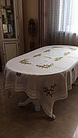 """Скатертина лянна сіра""""Квіткова"""" для круглого столу діаметр 180 см"""