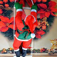 Декоративный Санта Клаус на лестнице (Дед Мороз на лестнице): лестница 110см, фигурка 50см, фото 1