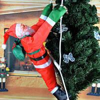 Декоративный Санта Клаус на лестнице (Дед Мороз на лестнице): фигурка 50см, необычный декор