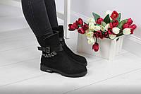 Женские ботинки с ремешком (черные), ТОП-реплика, фото 1