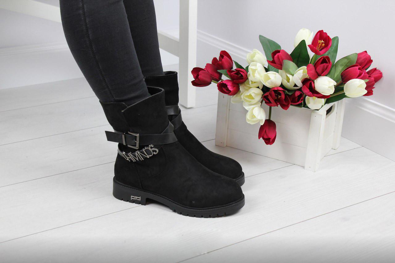 Женские ботинки с ремешком (черные), ТОП-реплика