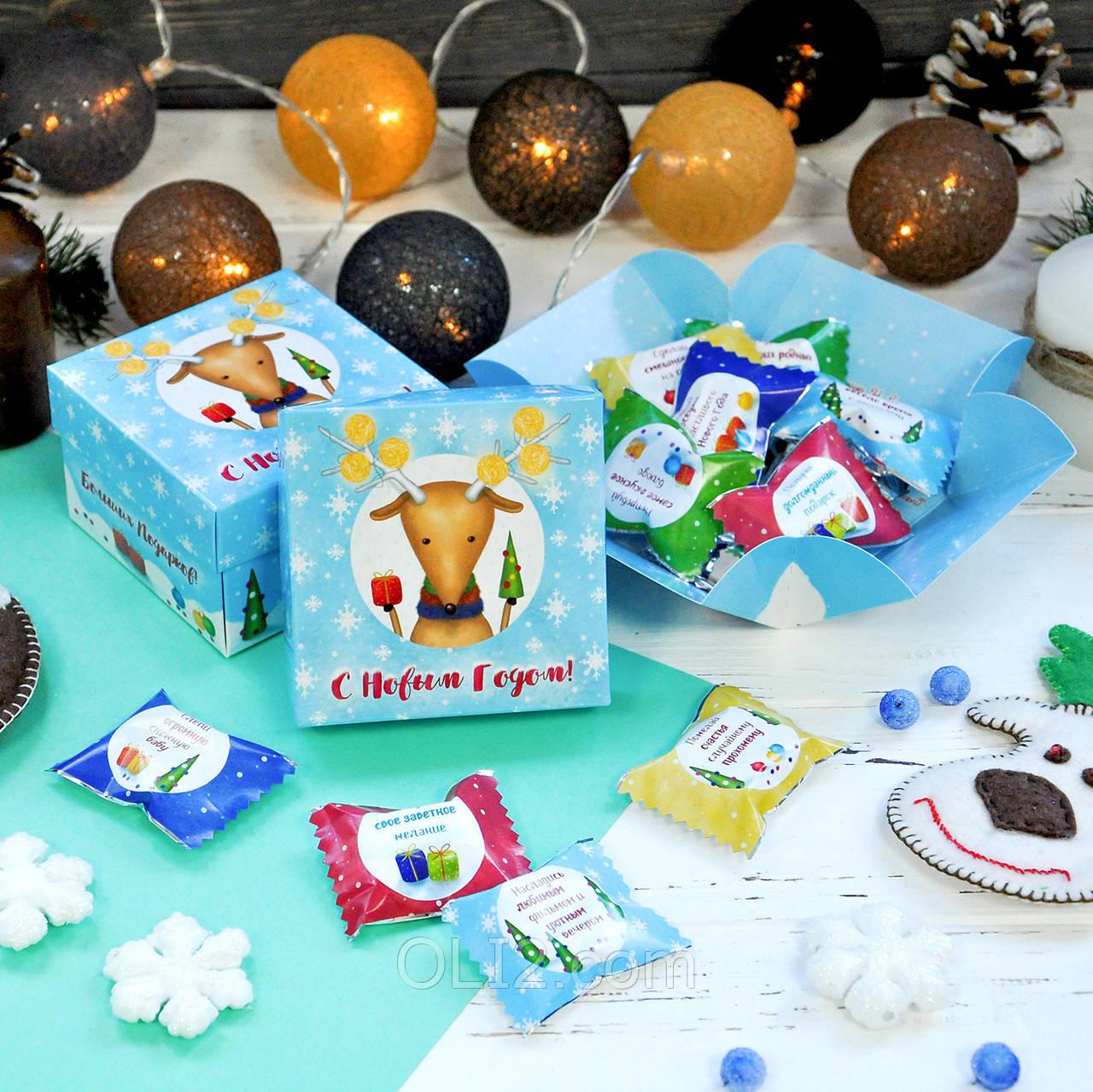 """Шоколадный куб """"Сновым годом"""" новогодний подарок"""