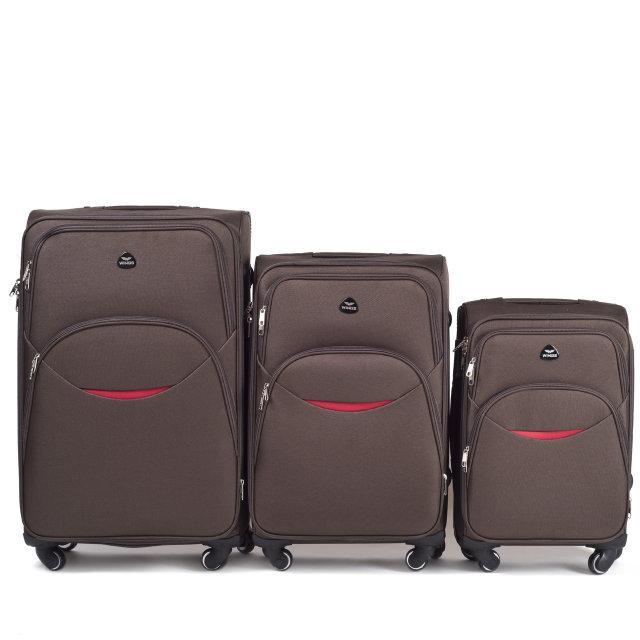 Чемодан сумка Suitcase 4 колеса набор 3 штуки коричневый