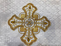 Хрест (крест) для церковного одягу великий  24 на 24 см золотистий на срібному з жовтими стразами, фото 1