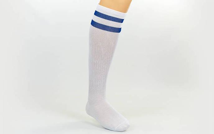 Гетры футбольные взрослые белые с синей полосой CO-3257-WB, фото 2