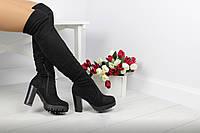 Женские ботфорты на меху евро-зима (черные), фото 1