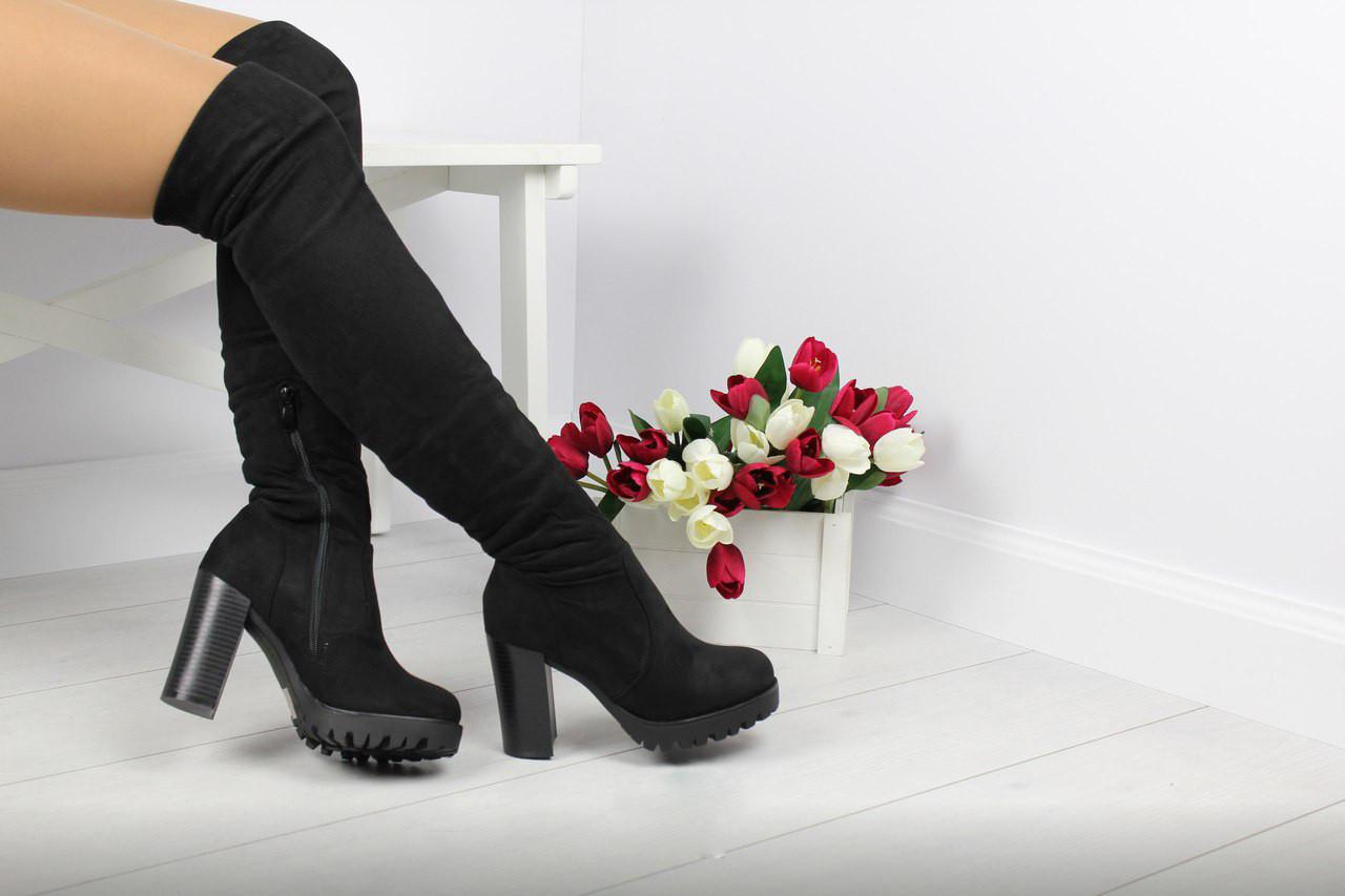 Женские ботфорты на меху евро-зима (черные)