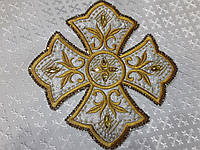 Хрест для церковного одягу великий 23 на 23 см золотисто-срібний з золотистими стразами, фото 1