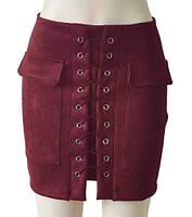 Женская замшевая юбка с карманами на шнуровке бордовая (марсала), фото 1
