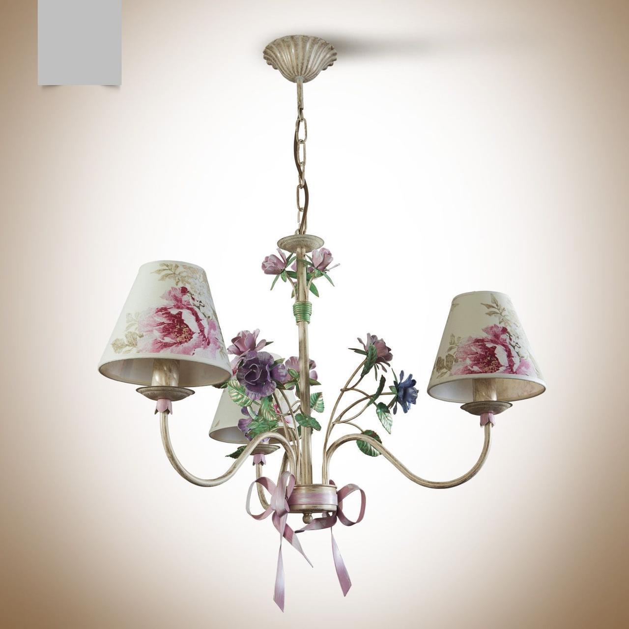 Люстра для небольшой комнаты, для спальни 3-х ламповая с абажурами 6403-4