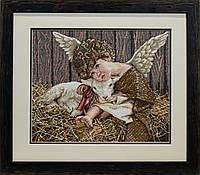 Вышитая картина - Ангелочек с ягненком