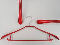 Плечики вешалки тремпеля металлический в силиконовом покрытии широкий розового цвета , длина 43,5 см