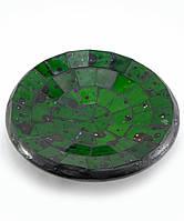 Блюдо терракотовое с зеленой мозаикой (11х11х3 см)
