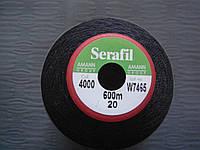 Нитки Amann Serafil  №20 600м цвет 4000 (ЧЁРНЫЙ).