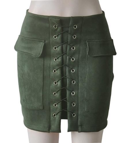 Женская замшевая юбка с карманами на шнуровке зеленая (хаки)