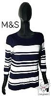 Джемпер M&S Оригинал р. S 42-44 свитер лонгслив в полоску синий женский весенний демисесонный