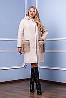 Зимнее женское стильное теплое пальто 44, 46 размер.Зимове жіноче пальто