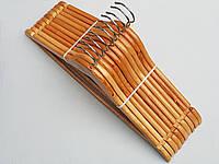 Плечики вешалки тремпеля деревянные светлые, длина 45 см, в упаковке 10 штук