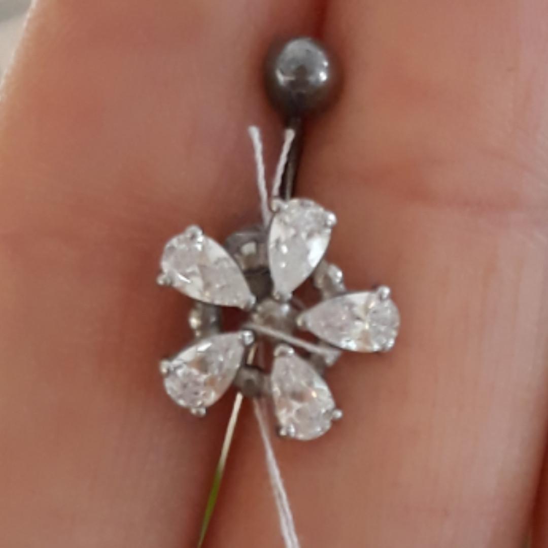 Пирсинг в пупок Цветок серебро 925
