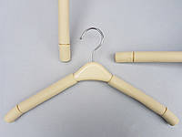Плечики вешалки тремпеля поролоновые с пластмассовой вставкой кремового цвета, длина 38,5 см