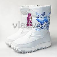 Подростковые зимние дутики для девочки сапоги  на зиму белые бабочки 32р.