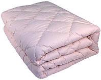 Зимнее теплое одеяло из овечьей шерсти 175х210. Микрофибра. Пудра.