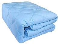 Зимнее теплое одеяло из овечьей шерсти. 175х210. Микрофибра. Голубое.