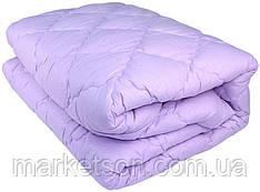Зимнее теплое одеяло из овечьей шерсти 200*220. Микрофибра. Сирень.