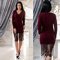 Женское стильное платье с кружевом (3 цвета), фото 1