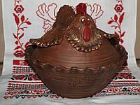 Курочка(тарелка и крышка) гончарная