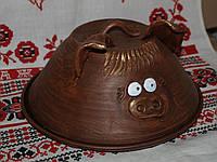 Сальница(тарелка и крышка) гончарная хрюшка