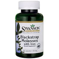 Железо -- Меласса (черная патока), обогащенная железом Blackstrap Molasses with Iron 29 мг 120 капс