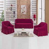 АКЦИЯ!!!Чехол на диван + 2 кресла Premium малиновый
