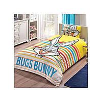Детский комплект постельного белья Tac Disney Bugs Bunny Striped простынь на резинке