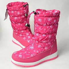 Подростковые детские зимние дутики сапоги для девочки розовые бабочки 32р.-37р. 3678