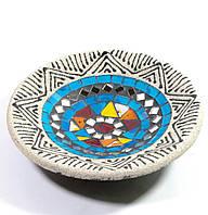 Блюдо терракотовое с мозаикой (d- 15,5 h-2,5 см)