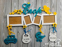 Рамка на 4 фото с метрикой и именем из дерева для мальчика