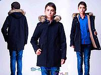 Детское подростковое пальто с капюшоном на меховой подкладке для мальчика,S-Style