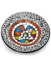 Блюдо терракотовое с мозаикой (d-14,5 см h-4,5 см)