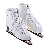 Коньки фигурные белые мех Teku (PVC) ТК-082М