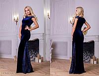 Вечернее длинное платье из бархата с кружевом 31PL363, фото 1