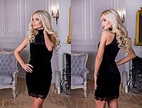 Бархатное приталенное платье без рукавов с отделкой из кружева 31PL369, фото 1
