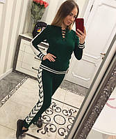 Вязаный женский спортивный костюм со шнуровкой 33SP142