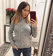 Женский вязаный свитер с узором и вырезом на спине 33KF176, фото 1