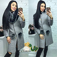 Женское зимнее пальто из шерсти с искусственным мехом 56PA41