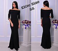 Вечернее платье в пол с открытыми плечами и камнями на рукавах 71PL397, фото 1