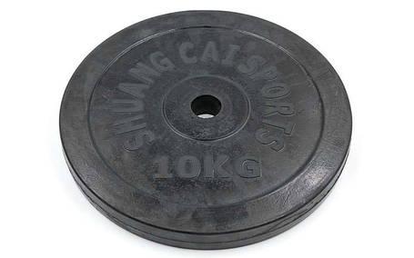 Блины черные обрезиненные 10кг (диам. 30мм) ТА-1445, фото 2