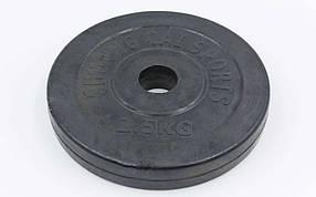 Блины черные обрезиненные 2,5кг(диам. 30мм) ТА-1442