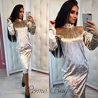 Приталенное платье ниже колен из мраморного велюра 56PL421