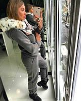 Теплый женский костюм из утепленной трехнитки на флисе с мехом на капюшоне 18ZK12